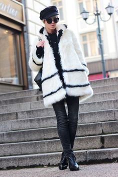 Cozy Fur/ Sweater- Choies http://www.choies.com/product/crew-knitted-jumper-with-butterfly-pattern-in-black , Woakao backpack - http://www.woakao.com/product/black-vertical-zip-backpack-BPACK2013110426.html , Sheinside shirt- http://www.sheinside.com/Red-Lapel-Long-Sleeve-Plaid-Pockets-Blouse-p-149849-cat-1733.html , Choies ankle boots- http://www.choies.com/product/black-zip-ankle-boots-with-ponyskin , Choies sunglasses - http://www.choies.com/product/half-frame-angular-cat-eye-sunglasses