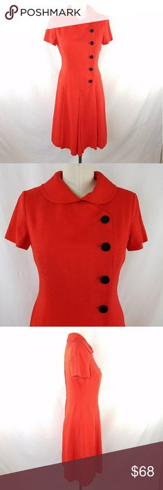 """VTG 60s Red Button Trapeze Dress ✴20% OFF BUNDLES OF 3 OR MORE✴ """"Adele Simpson Sussan's Daytona Beach"""" Fully lined  Center back zipper closure Choir-boy collar with hook/eye in back Non-functional large button detail on front  Large pleats on front skirt  Approximately size 4 33.5 Bust 29"""" Waist  36"""" Hips  37.5"""" long Excellent vintage condition!  PLEASE READ CLOSET INFO AND POLICIES POST Vintage Dresses"""