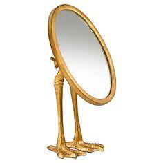 """Duck 9""""x13"""" Desk Mirror, Gold"""