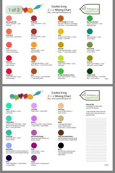 Super Ideas For Cookies Easter Fondant Royal Icing Icing Color Chart, Color Mixing Chart, Color Charts, Cookie Icing, Royal Icing Cookies, Sugar Cookies, Icing Recipe, Frosting Recipes, Cake Decorating Tips