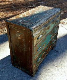 Vintage Waterfall Dresser w/ Rustic Distressed Finish