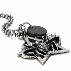 Herren Halskette Pentagramm Amulett Spinne Anhänger mit Kugel Kette Leder 67 cm