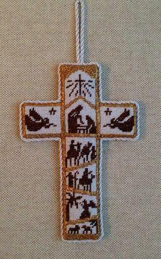 Nativity Cross Ornament from Two's Company Needlepoint