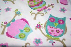 Deko Taschen Stoff Jill Öko-Tex Standard 100 Eule Blume pink bunt 1,40 breit