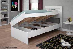 cama solteiro com bau larissa branco sem colchão Sofa Bau, Bunk Beds, Loft, Bedroom, Storage, Table, Furniture, Home Decor, Toddler Bedding Girl