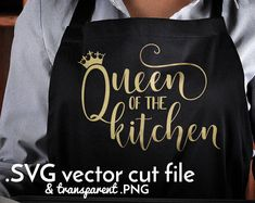 Queen of the kitchen SVG cut file Stationery Websites, Old Kitchen Cabinets, Kitchen Vinyl, Kitchen Mat, Kitchen Towels, Diy Kitchen, Cute Aprons, Funny Aprons, Apron Designs