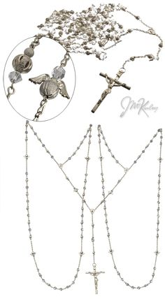 wedding lazo rosary beautiful crystal and silver textured accent beads ...