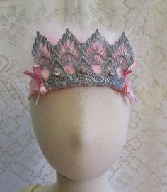 Elegant Silver Lace Crown with Pink Feathers Baby by cd1ofakind