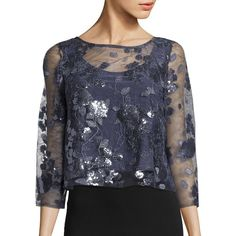 Marina Sequin Floral Crop Top ($97) ❤ liked on Polyvore featuring tops, gunmetal, round neck crop top, floral print crop top, sequin top, flower print crop top and sheer crop tops