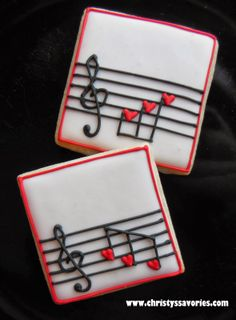 Music / Musical Notes decorated sugar cookies for Valentine's Day by Christy's Savories Fancy Cookies, Iced Cookies, Cute Cookies, Cupcake Cookies, Summer Cookies, Cookie Favors, Flower Cookies, Heart Cookies, Easter Cookies