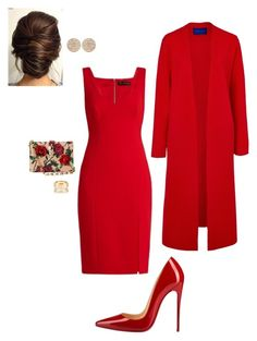 A fashion look from March 2017 featuring Versace dresses, Winser London coats and Christian Louboutin pumps. Browse and shop related looks. Classy Casual, Classy Outfits, Stylish Outfits, Work Fashion, Fashion Looks, Dress Outfits, Fashion Dresses, Frack, Looks Chic