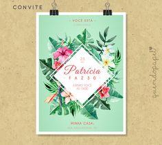 Convite Floral, Convite folhagens, convite verão, convite festa do havaí, convite pool party