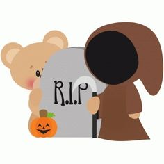 Silhouette Design Store: halloween bear with grim reaper