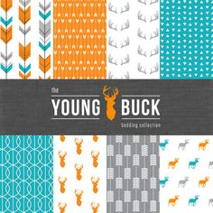 The Young Buck Crib Bedding Set Modern Woodland by CozybyJess, $203.00 Teal and orange crib bedding for the modern woodland nursery.