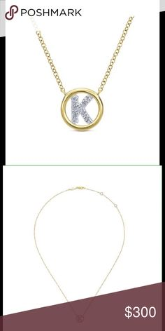 """Gold initial diamond necklace. 14kt yellow gold diamond initial """"K"""" necklace on an adjustable chain. GabrielNY Jewelry Necklaces"""