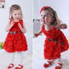 Girls Kid Summer Three-dimensional Flower Princess Big Bow Belt Dress