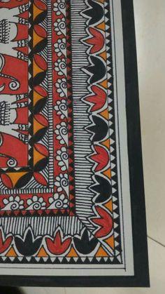Mirror Painting, Mural Painting, Fabric Painting, Saree Painting, Kalamkari Painting, Madhubani Art, Madhubani Painting, Indian Arts And Crafts, Border Embroidery Designs