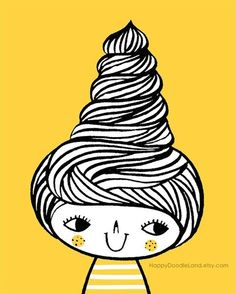 Swirly Hair print - flora chang | Happy Doodle Land #ice #cream #yellow