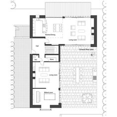 L-shape house plan by architect Frank McGahon...