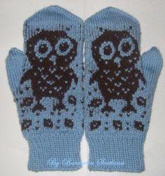 """Совы"" owl mittens"