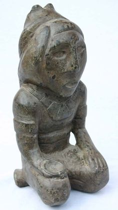 """Pre Columbian Etowah Mississippian culture stone effigy figure - Upper Tenn/Lower Ohio Valley - approximately 1000 yrs old - 13 1/2"""" tall"""