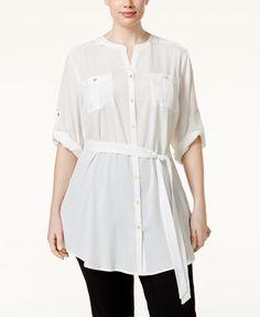 Calvin Klein Plus Size Tied-Waist Tunic Shirt