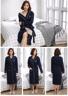 Cotton Couples Robes For Women Man Great Fabric Full Sleeve Knee-Length Letter Pattern One-Set Home Sleepwear Couple Pajamas, Letter Patterns, Buy One Get One, Blue Dresses, Best Gifts, Lettering, Couples, Fabric, Sleeves