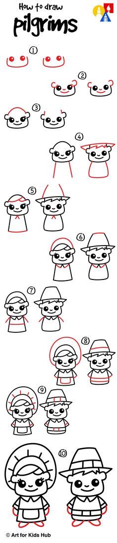 How to draw cartoon pilgrims!