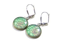 Purple Sea Green Dangle Earrings Leverback Earrings by JKCJewelry, $13.00