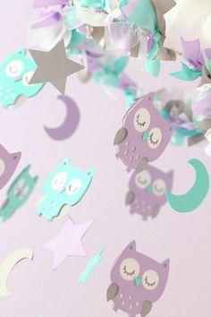 Owl Nursery Mobile in Lavender Aqua White & by LoveBugLullabies, $53.00