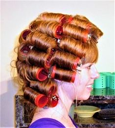 Updo Styles, Hair Styles, Wet Set, Roller Set, Pin Curls, Permed Hairstyles, Curlers, Vintage Glamour, Hair Dos