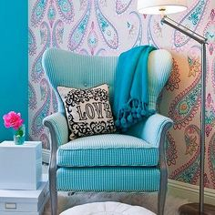 Turquoise Chair, Contemporary, girl's room, Cox Paint Diamonds Are Not Forever, JAC Interiors