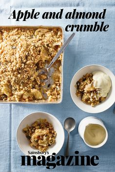 One of the much-loved British puddings, our apple and almond crumble recipe is a lighter version of the classic Healthy Apple Crumble, Vegan Crumble, Crumble Recipe, Crumble Topping, Light Desserts, Apple Desserts, Dessert Recipes, Vegan Desserts, British Pudding