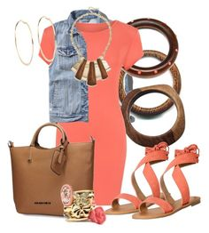 """""""Coral Dress & Sandals"""" by hope-houston ❤ liked on Polyvore featuring Abercrombie & Fitch, NOVICA, Fantasy Jewelry Box, WearAll, Classified, GUESS, Charlotte Russe and River Island"""