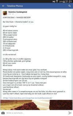 Bar one koek Quick Easy Desserts, Healthy Dessert Recipes, Cake Recipes, Kos, South African Recipes, Novelty Cakes, Fries In The Oven, Sweet Tarts, Cupcake Cakes