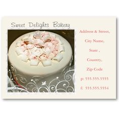 Custom Bakery / Wedding Cakes Business Card #cakes #wedding #zazzle #jamiecreates1