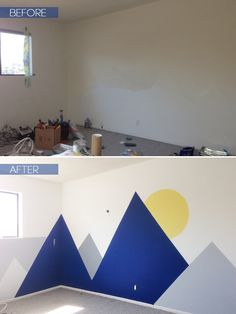 Joy Nursery_Emily Henderson_Wall Landscape Mural_before after copy