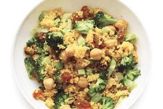 Curried Broccoli Couscous - sauté the broccoli in water, not oil!