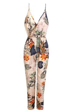Women Fashion Sexy V Neck Halter Backless Elastic Waist Adjustable Strap Flower Print Side Split Long Jumpsuit