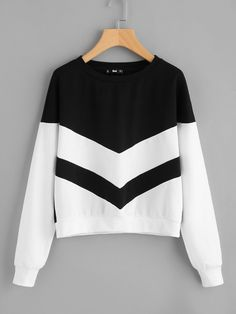 0af2785bd55 Shop Two Tone Chevron Pullover EmmaCloth-Women Fast Fashion Online Fashion  Outfits