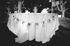 mr. & mrs. banner sweetheart table | Mr & Mrs burlap wedding banner - ships free in US