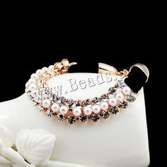 Pulsera de diamantes de imitación, aleación de zinc, con Perlas de plástico ABS & resina, con 5cm extender cadena, chapado en oro de rosa real, con diamantes de imitación, libre de plomo & cadmio, 170mm, Vendido para aproximado 6.5 Inch Sarta,Abalorios de joyería por mayor de China
