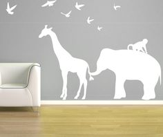Vinyl Safari Animal Wall Decal Set CA112C  {SIZE} Giraffe is 48 tall Elephant is 34 tall Giraffe and Elephant together are approx. 6 feet wide.