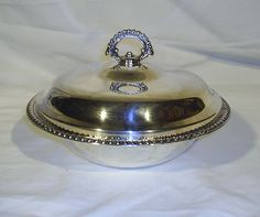 Silverplat​e Round Hot Food Server Glass Pyrex Serving Bowl With Carrier Chrome #Pyrex
