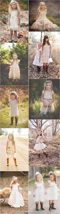 rustic country wedding ideas -  flower girl dresses / http://www.deerpearlflowers.com/flower-girl-dresses-for-country-weddings/