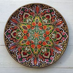 Тарелочка крупным планом ❤ Mandala Art, Mandala Design, Mandala Painting, Mandala Pattern, Seashell Painting, Dot Art Painting, Pottery Painting, Ceramic Painting, Stained Glass Flowers