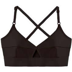 BASE range Lady Bra ($50) ❤ liked on Polyvore featuring intimates, bras, tops, underwear, lingerie, strap bra, cut out bra, adjustable bra, strappy lingerie and black jersey