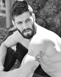Can I get my punk-ass off the street. Just an FYI I've been on a Third Eye Blind bender since the concert, and from now on my… Hairy Men, Bearded Men, Moustache, Casey Deidrick, Gents Hair Style, Sean O'pry, Celebrity Photography, My Hairstyle, Beard Tattoo