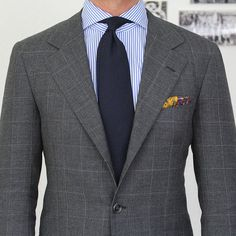 Classic Color Combinations in Menswear Mens Fashion Blog, Suit Fashion, Fashion Outfits, Windowpane Suit, Blazer Outfits Men, Shirt Outfit, Charcoal Suit, Mode Costume, Suit And Tie