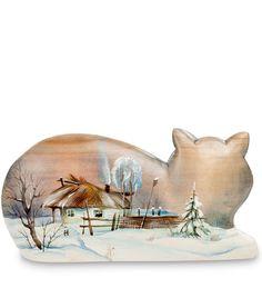 Деревянная резная фигурка Кошка 703453 с художественной росписью. Длина изделия - ок. 22 см - 9200 руб.